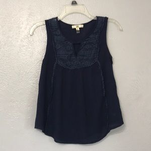 Blue tank top with lace neckline